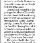 12 March 2020 Derbyshire Times Wilson Racing