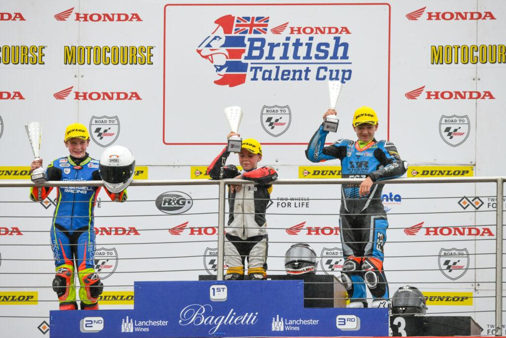 Wilson Racing James Cook podium British Talent Cup Donington national 2021